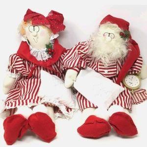 Vtg Shirley Bowman Rag Dolls Mr. & Mrs. Clause